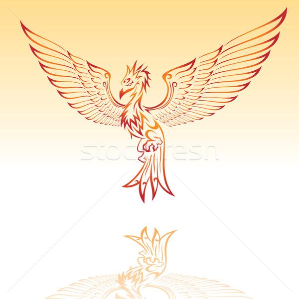 Ardente phoenix illustrazione design sfondo pace Foto d'archivio © kuzzie