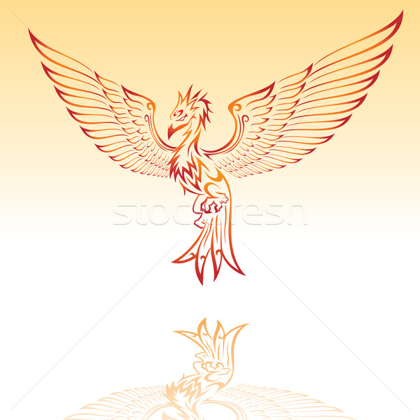 Vurig phoenix illustratie ontwerp achtergrond vrede Stockfoto © kuzzie
