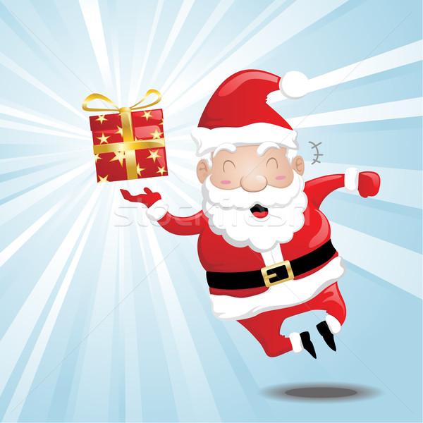 śmiechem Święty mikołaj cartoon Święty mikołaj dar Zdjęcia stock © kuzzie