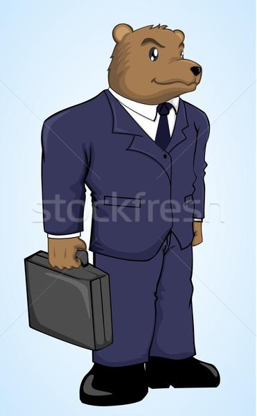 Orso imprenditore cartoon business valigia scambio Foto d'archivio © kuzzie