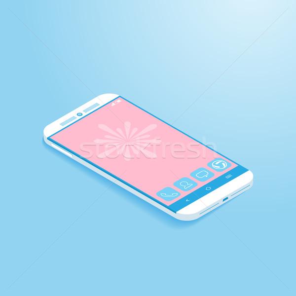 Izometryczny smartphone proste telefonu technologii komunikacji Zdjęcia stock © kuzzie