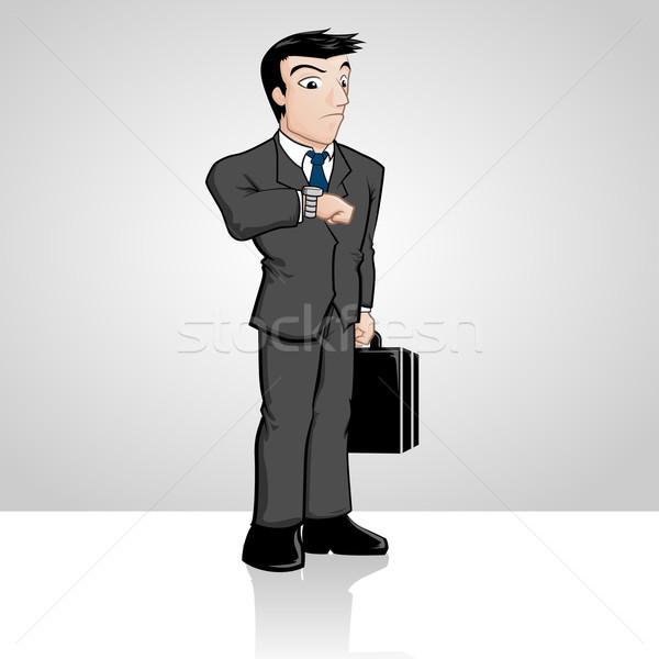 Biznesmen czeka biuro człowiek podpisania Zdjęcia stock © kuzzie