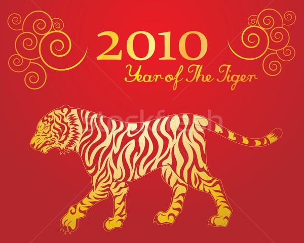 Anno tigre illustrazione golf sfondo rosso Foto d'archivio © kuzzie