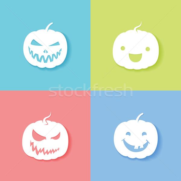 Bianco zucca di halloween lanterna illustrazione party arancione Foto d'archivio © kuzzie