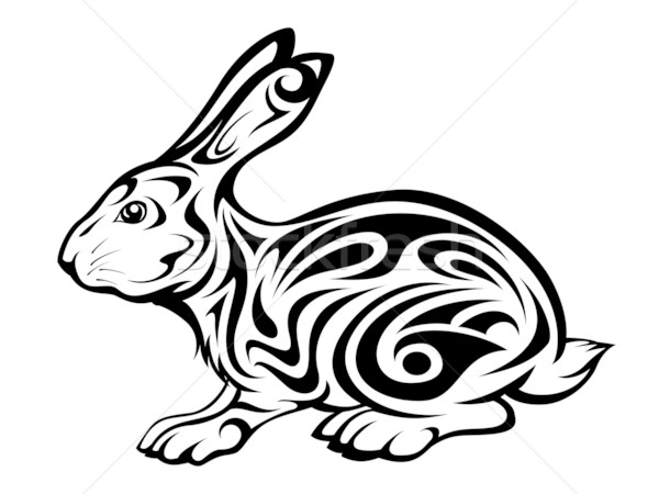 Coniglio tattoo tribali illustrazione design pattern Foto d'archivio © kuzzie