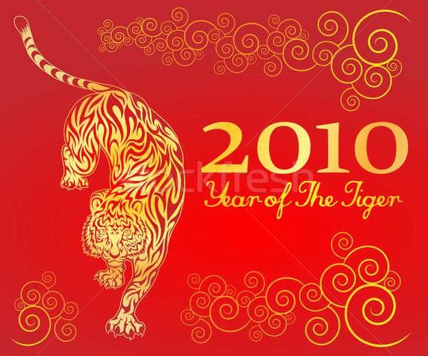 Anno tigre illustrazione cinese sfondo rosso Foto d'archivio © kuzzie