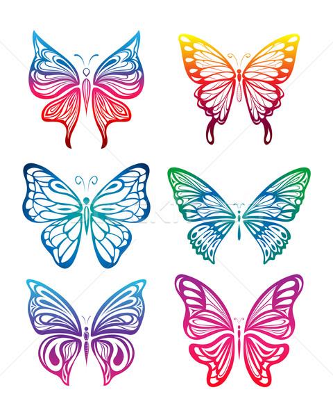 Colorato farfalla raccolta set fiore bellezza Foto d'archivio © kuzzie