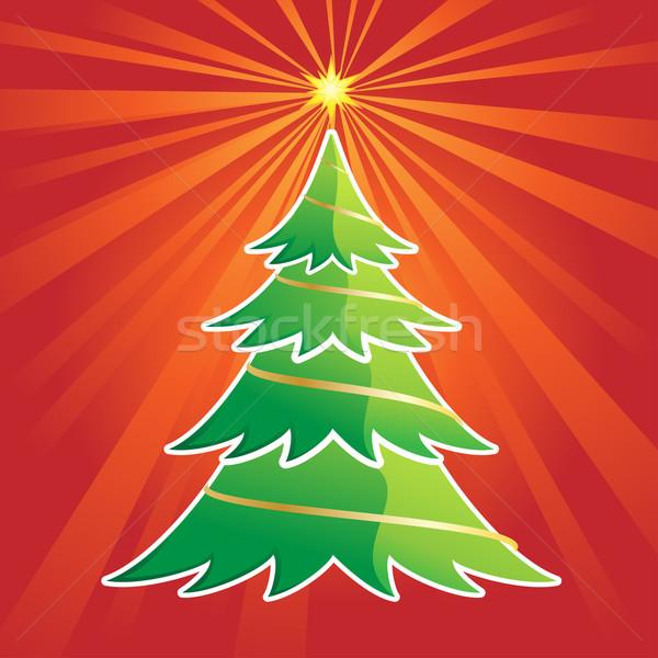 Christmas Tree in Red Background Stock photo © kuzzie