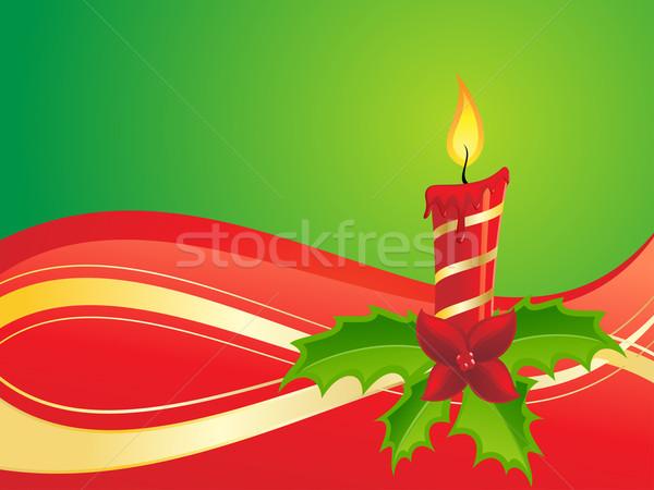 Christmas Świeca ilustracja czerwony zielone projektu Zdjęcia stock © kuzzie