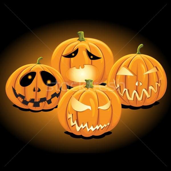 Web illustrazione set zucca di halloween lanterna faccia Foto d'archivio © kuzzie