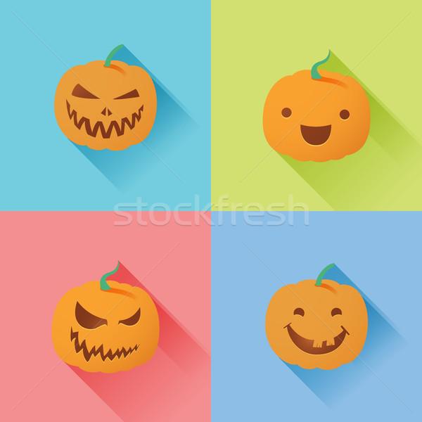 Zucca di halloween lanterna illustrazione party arancione notte Foto d'archivio © kuzzie