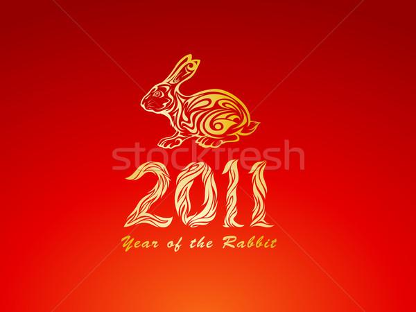 Golden Year of the rabbit Stock photo © kuzzie