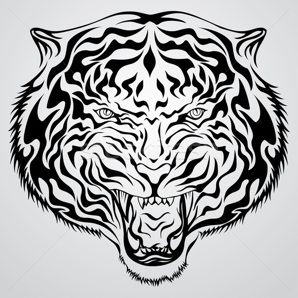 Tigre testa tattoo tribali nero inchiostro Foto d'archivio © kuzzie