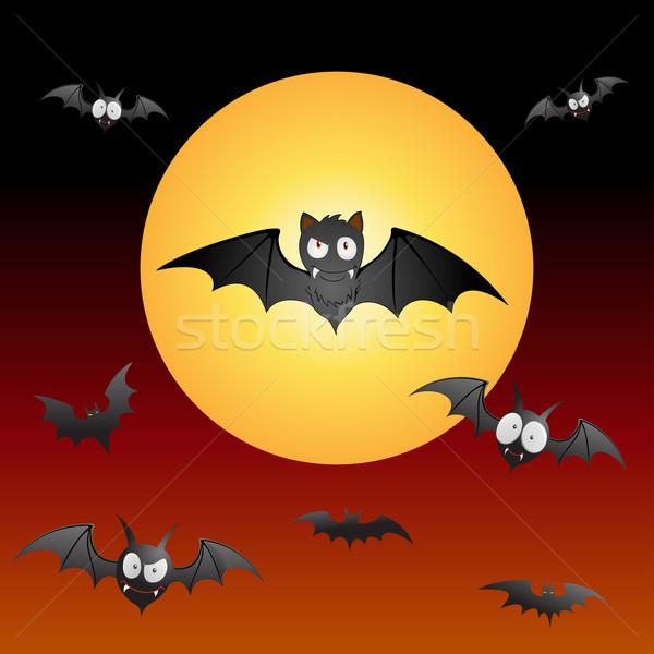 Scary divertente cartoon halloween bat natura Foto d'archivio © kuzzie