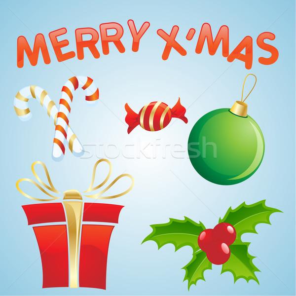 Christmas obiektów ilustracja świecie piłka star Zdjęcia stock © kuzzie