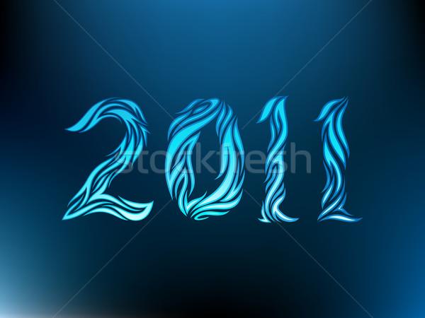 2011 tribales estilo año nuevo azul curva Foto stock © kuzzie