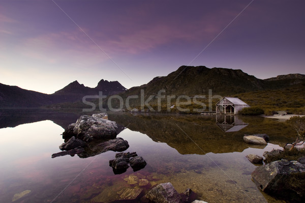 Photo stock: Berceau · montagne · sunrise · paisible · tasmanie · coucher · du · soleil