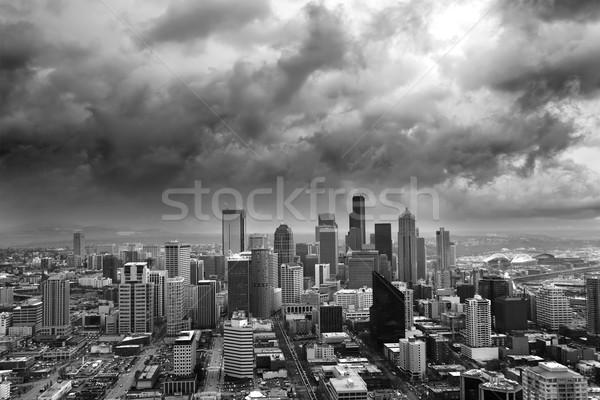 Stockfoto: Stormachtig · Seattle · donkere · onweerswolken · stad · wolken
