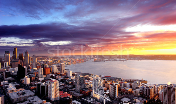 Seattle naplemente város természet tájkép szépség Stock fotó © kwest