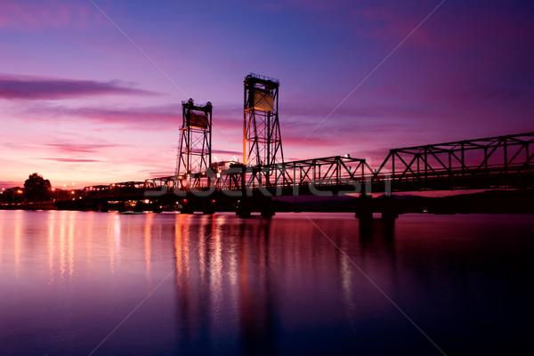 Brug zonsondergang mooie business auto wolken Stockfoto © kwest