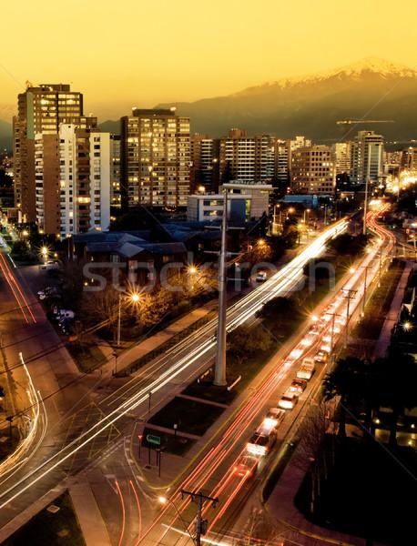 Santiago Chile ocupado carretera ciudad puesta de sol Foto stock © kwest