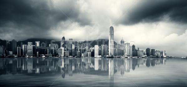 Hongkong kikötő iroda víz kék épületek Stock fotó © kwest