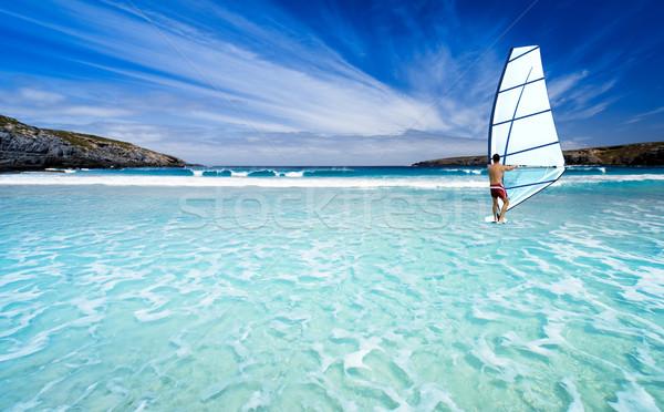 Windszörf gyönyörű tengerpart természet tájkép tenger Stock fotó © kwest