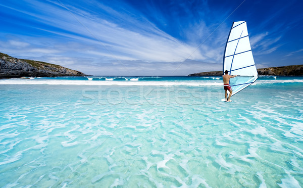 Windsurfen schönen Strand Natur Landschaft Meer Stock foto © kwest