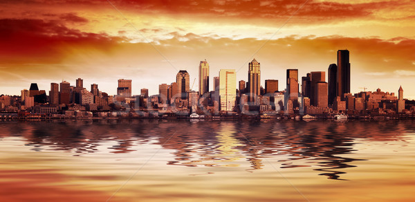 Seattle zonsondergang stad business Stockfoto © kwest