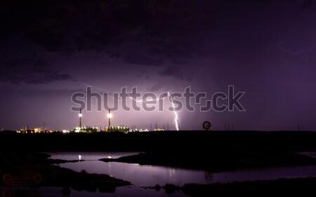 Viola tempesta fulmini elettriche nubi mare Foto d'archivio © kwest