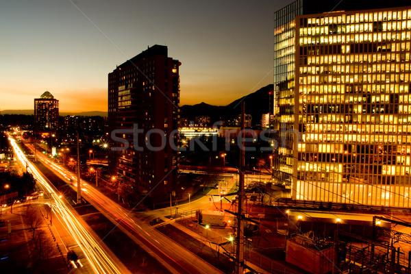 Csúcs óra forgalom naplemente út város Stock fotó © kwest