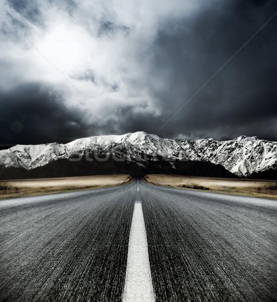 Alpesi utazás mozgás elmosódott út égbolt Stock fotó © kwest