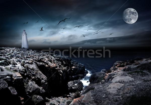 Hangulat apró világítótorony hold madarak felhők Stock fotó © kwest