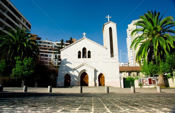 Santiago iglesia Chile árbol ciudad cruz Foto stock © kwest