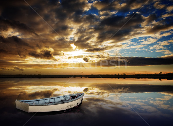 Row Boat Sunset Stock photo © kwest