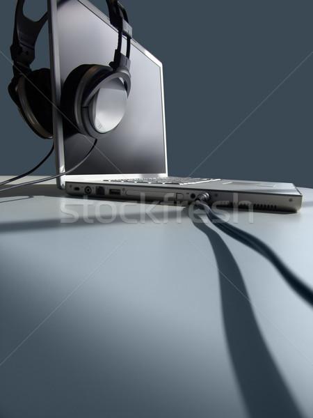 Hallgat fejhallgató laptop technológia hang tech Stock fotó © kwest