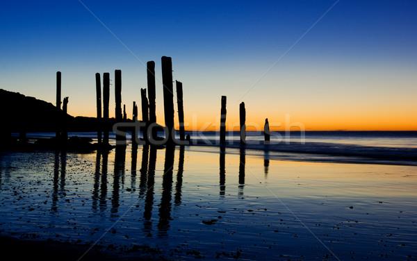 закат старые пляж небе пейзаж морем Сток-фото © kwest