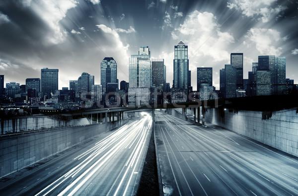 未来的な 景観 青 雲 建物 太陽 ストックフォト © kwest