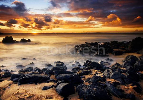 Kust zonsondergang mooie eiland Australië hemel Stockfoto © kwest