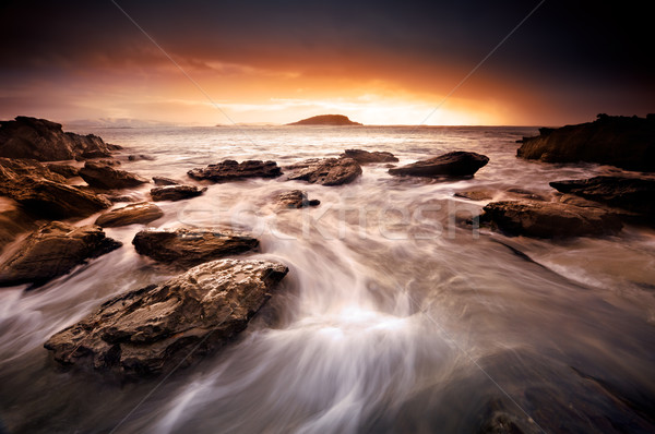 Puesta de sol remolino hermosa amanecer australiano playa Foto stock © kwest