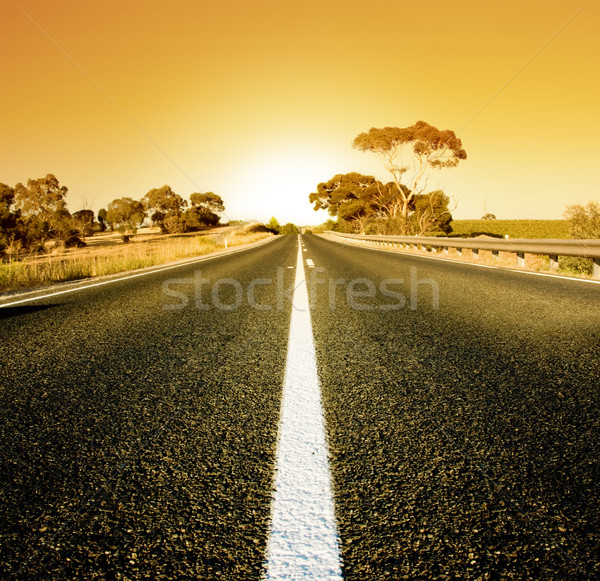 Naplemente vidéki út nap tájkép utazás Stock fotó © kwest