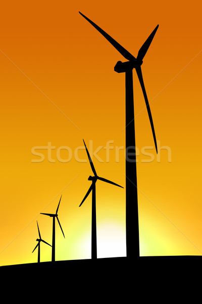 Sunset Wind Farm Stock photo © kwest