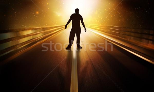 Férfi áll futurisztikus jelenet Jézus narancs Stock fotó © kwest