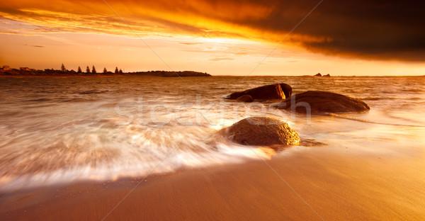 Arany reggel káprázatos napfelkelte ausztrál tengerpart Stock fotó © kwest