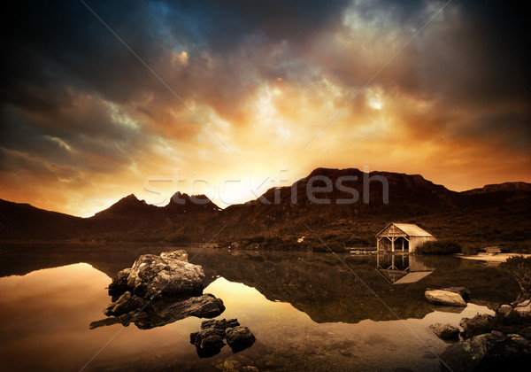 Stock photo: Explosive Lake Sunset