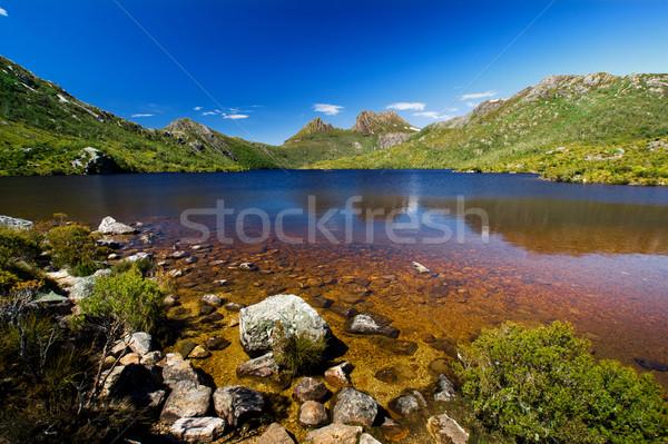 Wieg berg mooie meer schoonheid land Stockfoto © kwest