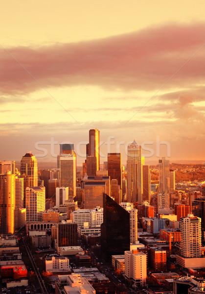 Stockfoto: Gouden · stad · Seattle · namiddag · zonlicht · business