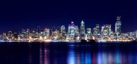Seattle stadslichten omhoog nachtelijke hemel business Stockfoto © kwest