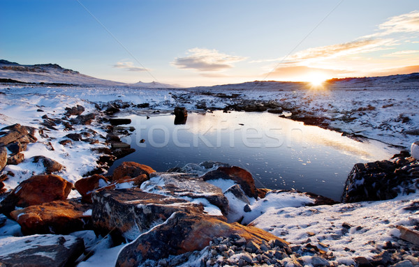 Tél patak szeszélyes Falkland-szigetek nap hó Stock fotó © kwest