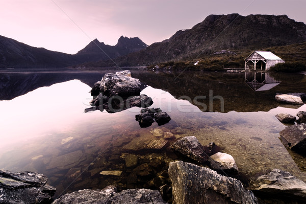голубя озеро красивой пейзаж закат красоту Сток-фото © kwest
